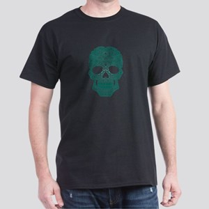 Teal Blue Swirling Sugar Skull T-Shirt