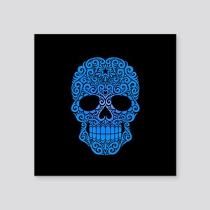 Blue Swirling Sugar Skull on Black Sticker