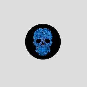 Blue Swirling Sugar Skull on Black Mini Button