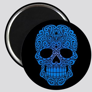 Blue Swirling Sugar Skull on Black Magnets