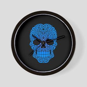 Blue Swirling Sugar Skull on Black Wall Clock