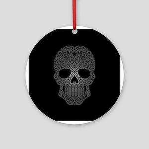 Gray Swirling Sugar Skull on Black Ornament (Round