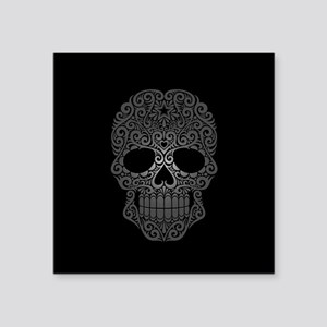 Gray Swirling Sugar Skull on Black Sticker