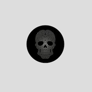 Gray Swirling Sugar Skull on Black Mini Button