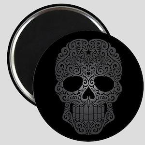 Gray Swirling Sugar Skull on Black Magnets
