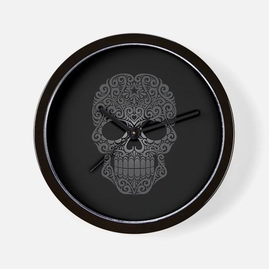Gray Swirling Sugar Skull on Black Wall Clock