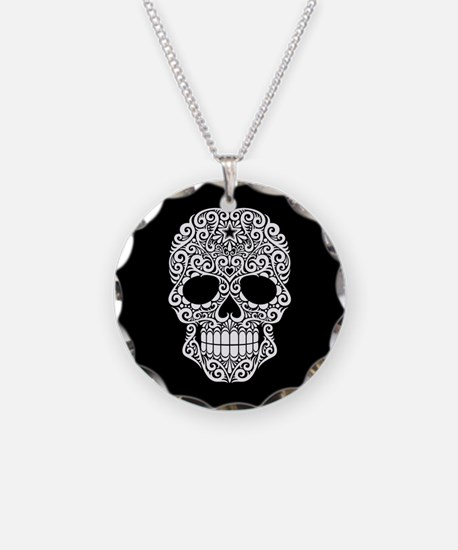 White Swirling Sugar Skull on Black Necklace