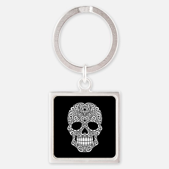 White Swirling Sugar Skull on Black Keychains