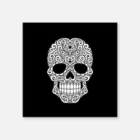 White Swirling Sugar Skull on Black Sticker