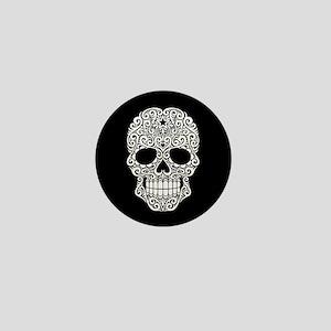 White Swirling Sugar Skull on Black Mini Button