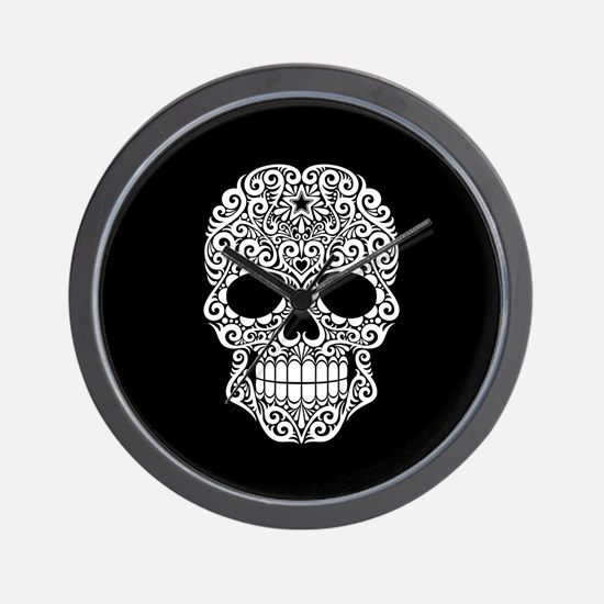 White Swirling Sugar Skull on Black Wall Clock