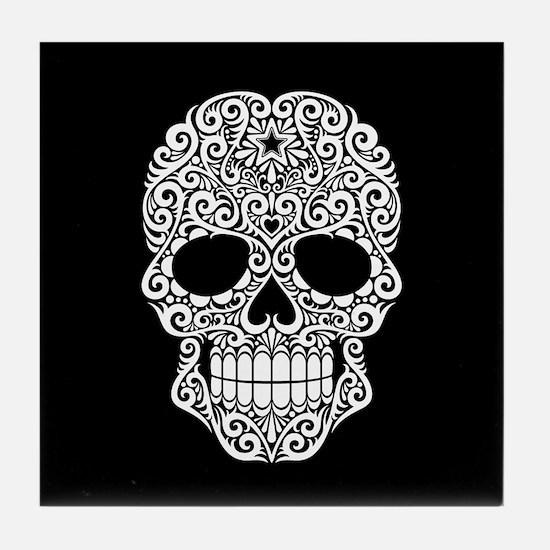 White Swirling Sugar Skull on Black Tile Coaster