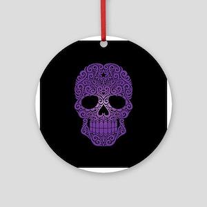Purple Swirling Sugar Skull on Black Ornament (Rou