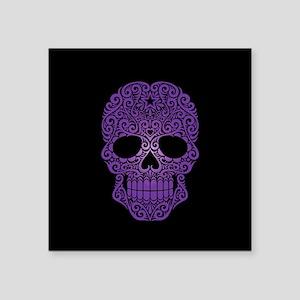 Purple Swirling Sugar Skull on Black Sticker