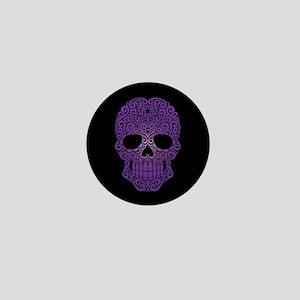Purple Swirling Sugar Skull on Black Mini Button