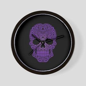 Purple Swirling Sugar Skull on Black Wall Clock