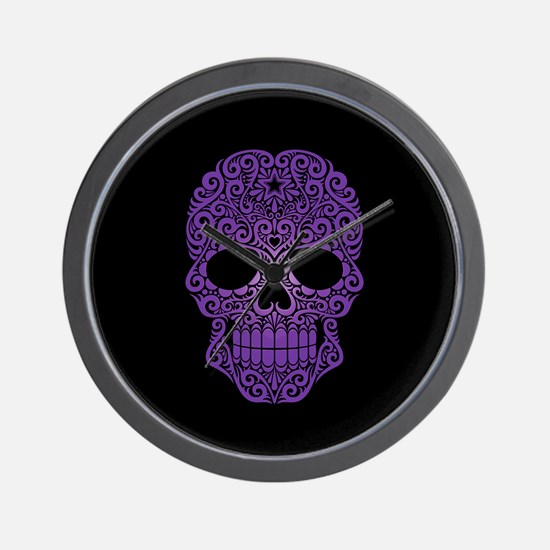 Purple Swirling Sugar Skull on Black Wall Clock