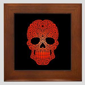 Red Swirling Sugar Skull on Black Framed Tile