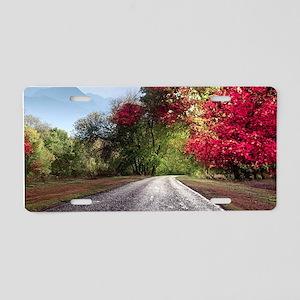 Autumn Road Aluminum License Plate