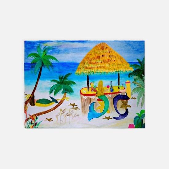 Mermaid Beach Tiki Bar 5'x7'area Rug