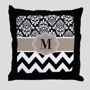 Black Beige Chevron Monogram Throw Pillow