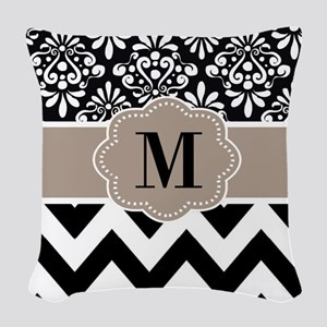 Black Beige Chevron Monogram Woven Throw Pillow