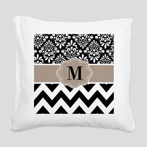 Black Beige Chevron Monogram Square Canvas Pillow