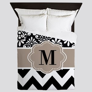 Black Beige Chevron Monogram Queen Duvet