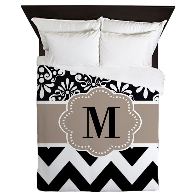 Black beige chevron monogram queen duvet by for Kitchen colors with white cabinets with monogram stickers for cups