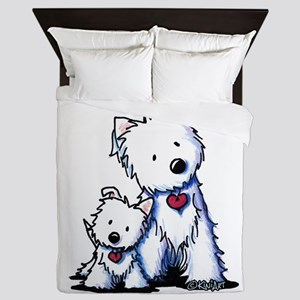 KiniArt Westie Buds Queen Duvet