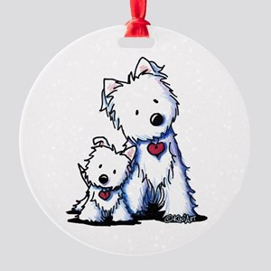KiniArt Westie Buds Round Ornament