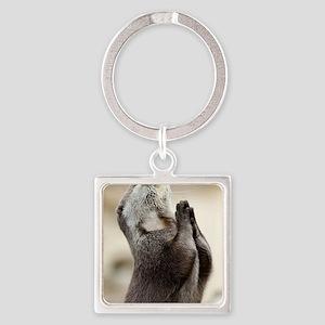Otter Praying Square Keychain