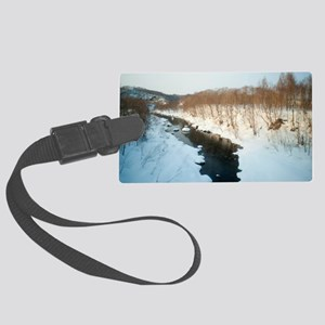 Stream flowing through snow Large Luggage Tag