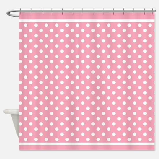 Pink Polka Dots Patterned Shower Curtain