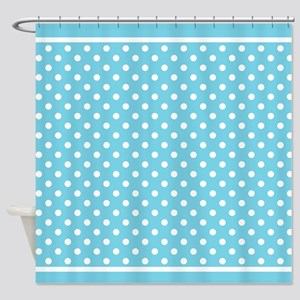 Turquoise White Polka Dot Pattern Shower Curtain