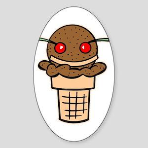 Ice Cream Face Oval Sticker