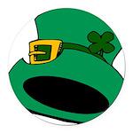 Leprechaun Hat with Shamrock Round Car Magnet