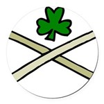 Shamrock and Pipes Round Car Magnet