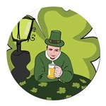 St Patricks Day Man with Beer Round Car Magnet