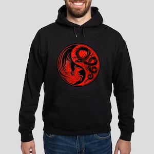 Red and Black Dragon Phoenix Yin Yang Hoodie