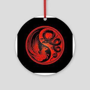Dragon Phoenix Yin Yang Red and Black Ornament (Ro