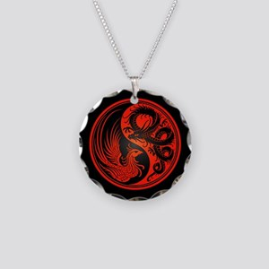 Dragon Phoenix Yin Yang Red and Black Necklace Cir