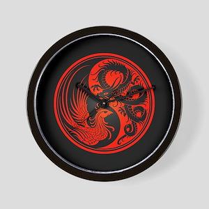 Dragon Phoenix Yin Yang Red and Black Wall Clock