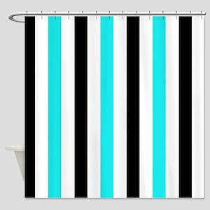 Black and Aqua Stripe Shower Curtain