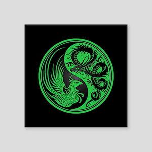 Dragon Phoenix Yin Yang Green and Black Sticker