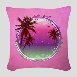 PARADISE PALMS Woven Throw Pillow