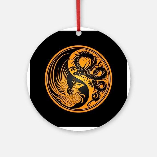 Dragon Phoenix Yin Yang Yellow and Black Ornament
