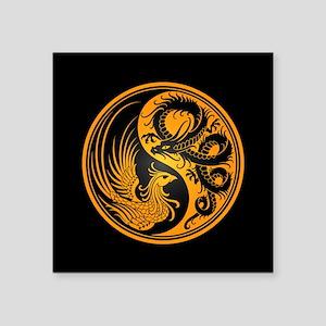 Dragon Phoenix Yin Yang Yellow and Black Sticker