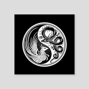Dragon Phoenix Yin Yang White and Black Sticker