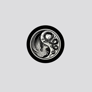 Dragon Phoenix Yin Yang White and Black Mini Butto